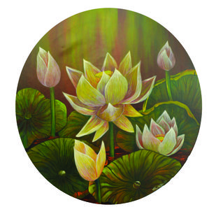 lotus 14 by Atin Mitra, Impressionism Painting, Mixed Media on Canvas, Brown color