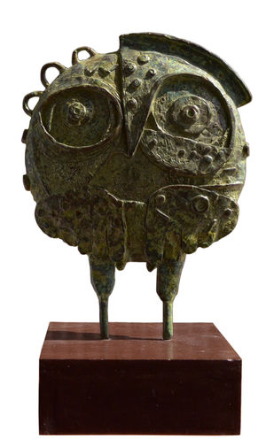 Owl 05 by Atish Mukherjee, Art Deco Sculpture | 3D, Bronze, Brown color