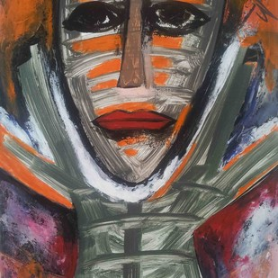 Respect of the Art-11 by yashpal gambhir, Expressionism Painting, Acrylic on Paper, Brown color