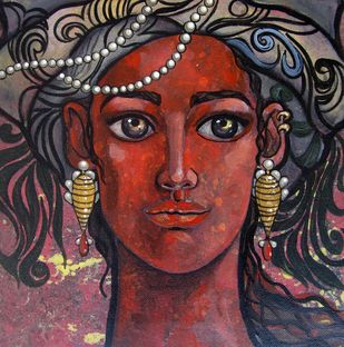 Beautiful inside by Suruchi Jamkar, Expressionism Painting, Acrylic on Canvas, Brown color