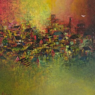 Distant View of Village by M Singh, Abstract Painting, Acrylic on Canvas, Brown color