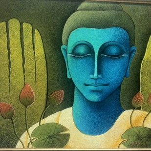 BUDDHA by J P Singh, Expressionism Painting, Acrylic on Canvas, Green color