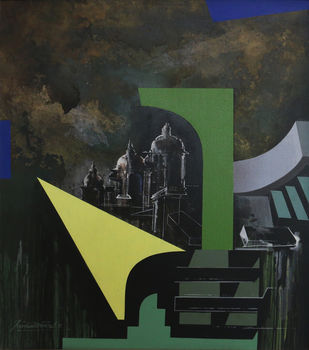 JANTAR MANTAR by Krishnendu Porel, Geometrical Painting, Acrylic on Canvas, Gray color