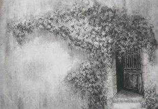 'Homecoming' by Nadine D'Souza, Illustration Drawing, Charcoal on Paper, Gray color