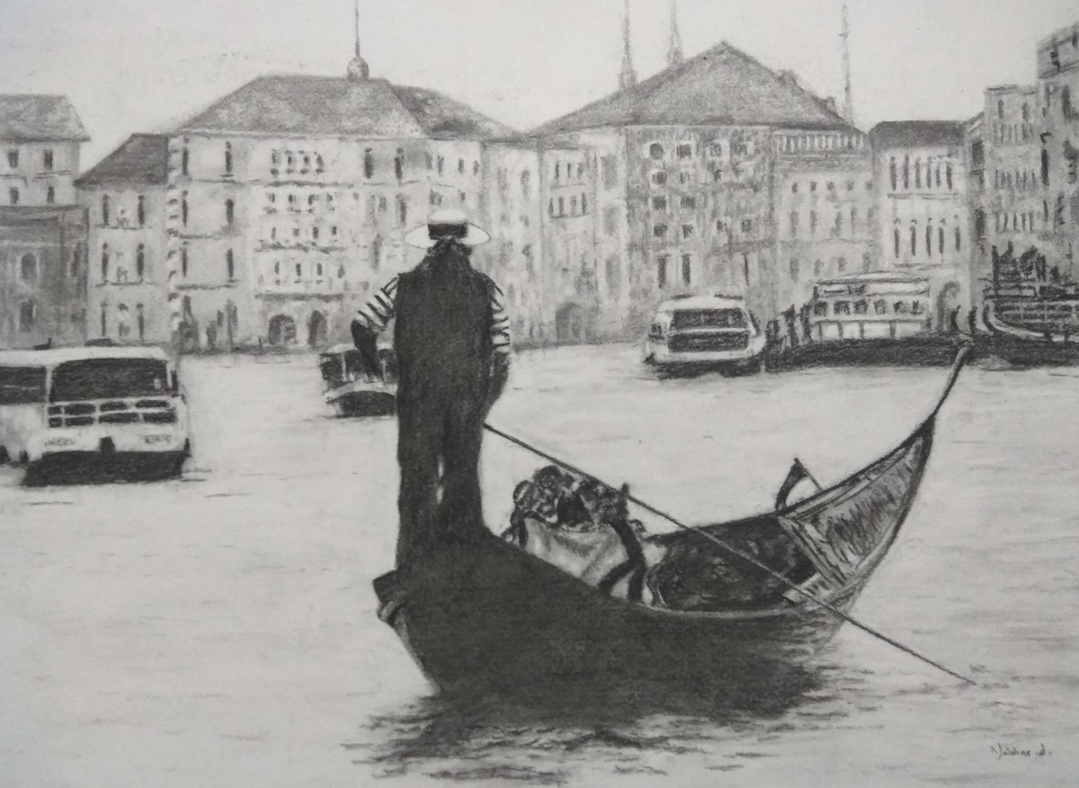 'Venice' by Nadine D'Souza, Illustration Drawing, Charcoal on Paper, Gray color