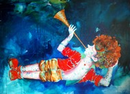 Passion of the childhood xiv by shiv kumar soni, Expressionism Painting, Mixed Media on Canvas, Blue color