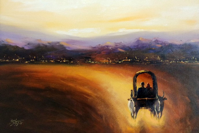 Endless Journey by Sunil Linus De, Impressionism Painting, Acrylic on Canvas, Brown color