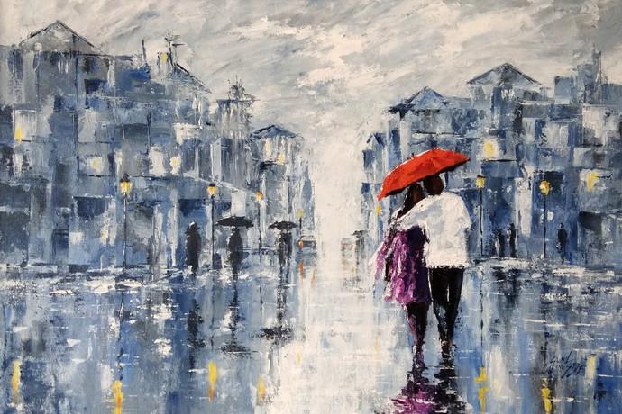 Couple In Rainy Day By Artist Sunil Linus De