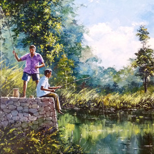 Childhood by Sunil Linus De, Impressionism Painting, Acrylic on Canvas, Green color