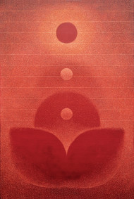 transcend by Hanumantha Rao Devulapalli, Geometrical Painting, Oil on Canvas, Red color