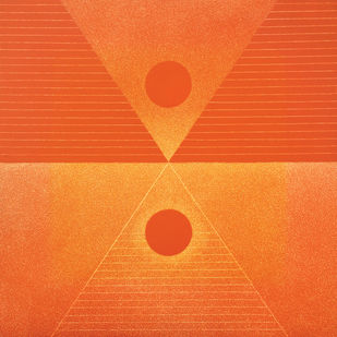Yantra by Hanumantha Rao Devulapalli, Expressionism Painting, Oil on Canvas, Orange color
