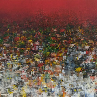 Village of my dreams by M Singh, Geometrical Painting, Acrylic on Canvas, Brown color