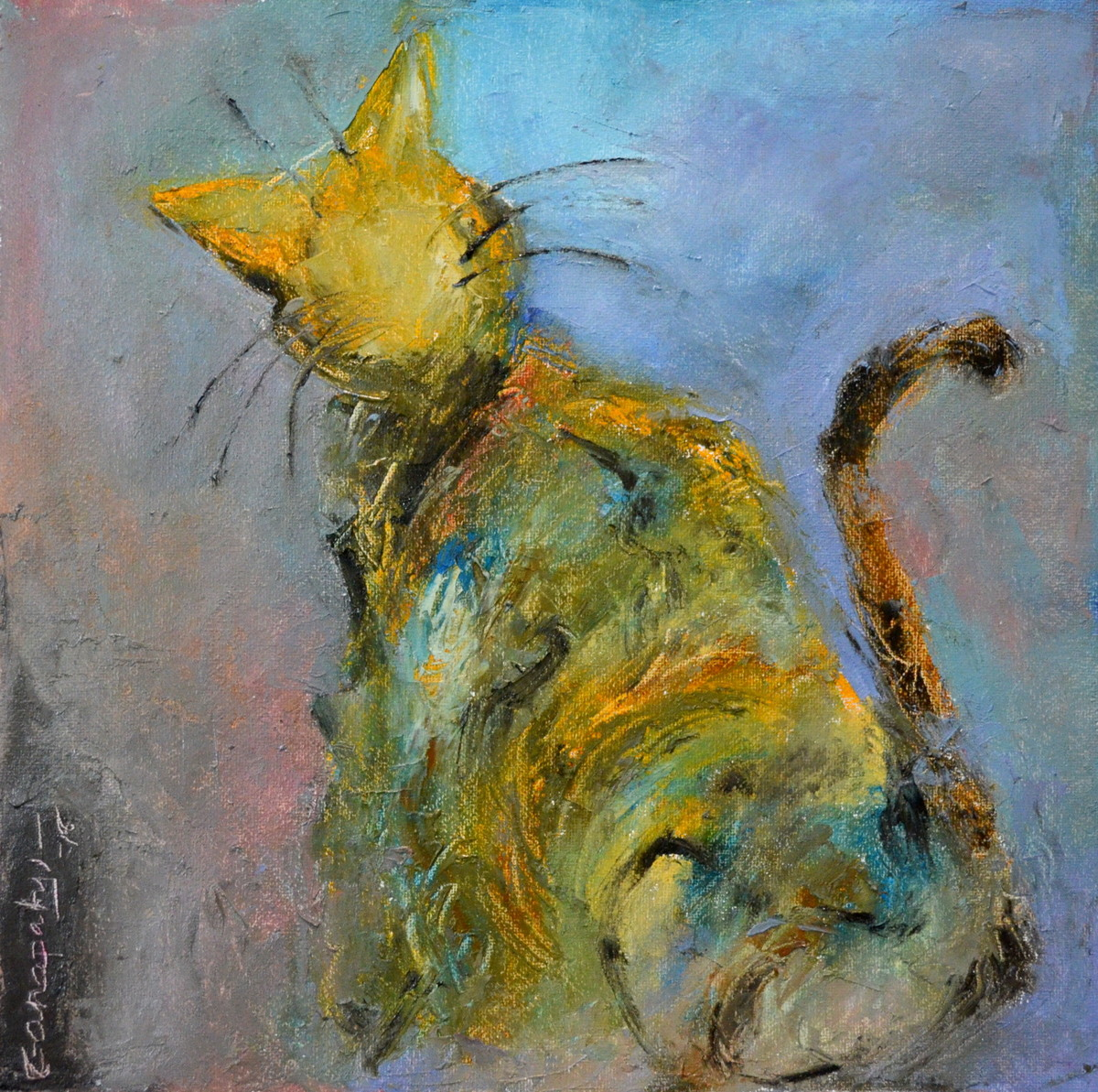 Cat 120 by Ganapathy Subramaniam, Impressionism Painting, Oil on Paper, Green color