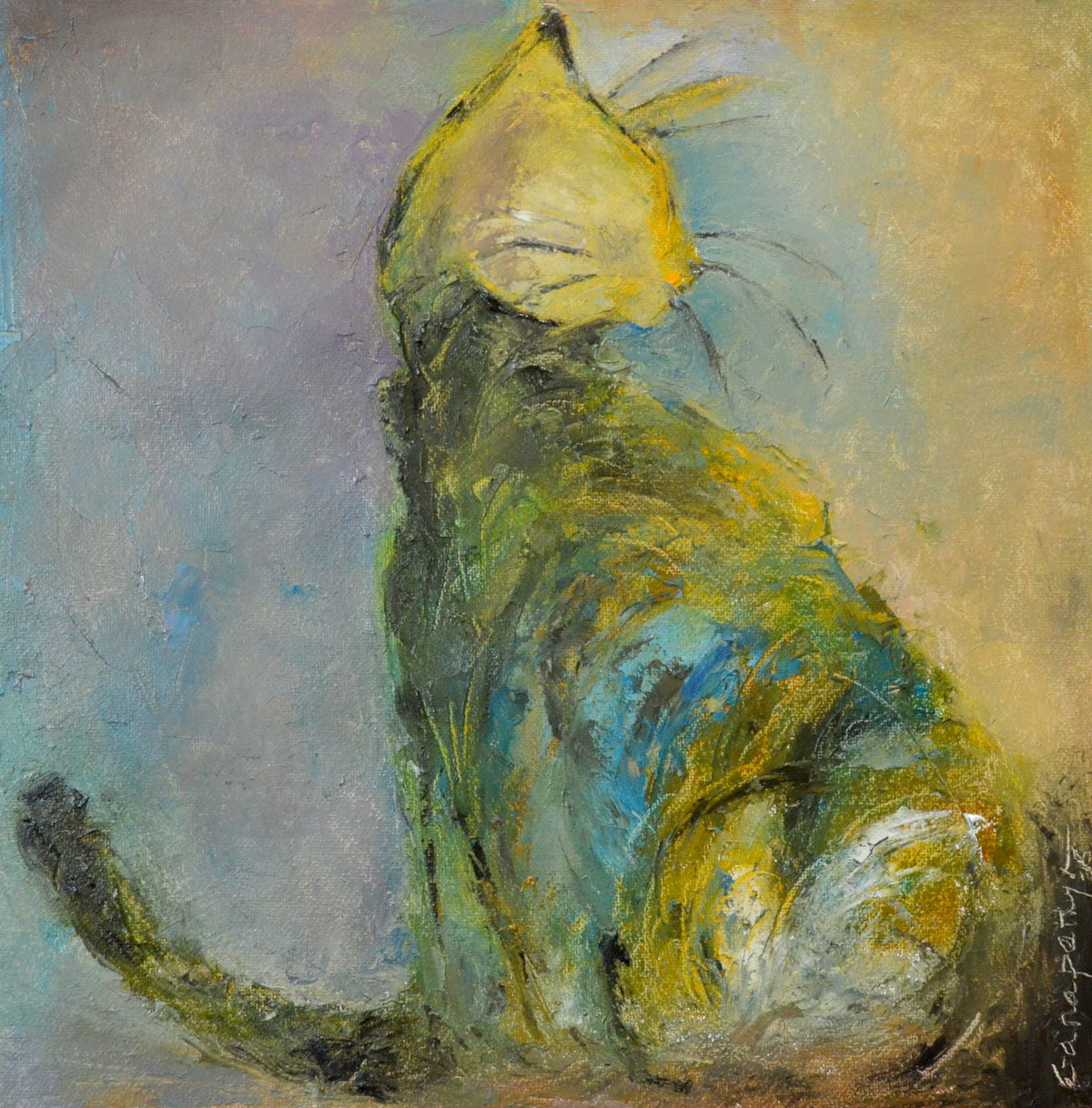 cat 121 by Ganapathy Subramaniam, Impressionism Painting, Oil on Paper, Green color