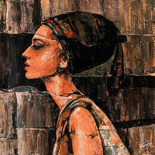Beauty of Audrey # Hostel Series_7 by gurdish pannu, Expressionism Painting, Acrylic on Canvas, Brown color