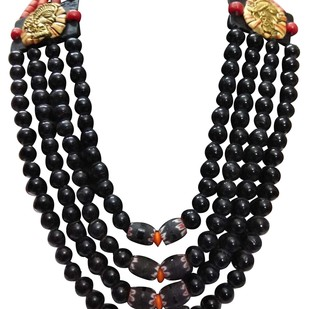 Necklace of of Fine Beads with Dhokra Art Brass Art by eGenie Art, Traditional Necklace
