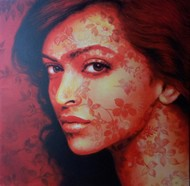 The lady by Sujit Karmakar, Expressionism Painting, Acrylic on Canvas, Brown color