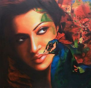Untitled 08 by Sujit Karmakar, Expressionism Painting, Acrylic on Canvas, Brown color