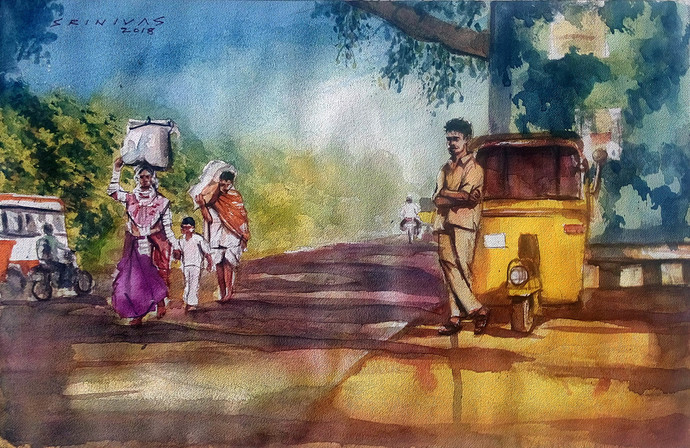 Journey by Sreenivasa Ram Makineedi, Impressionism Painting, Watercolor on Paper, Brown color