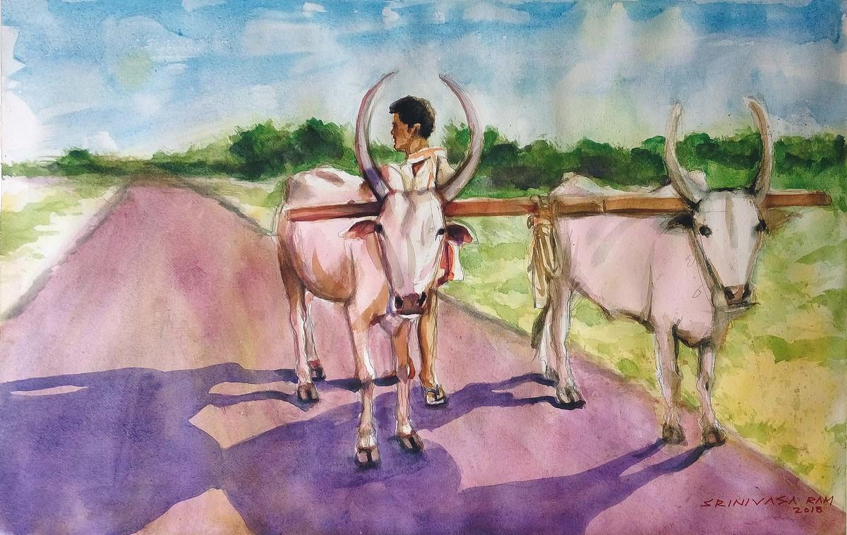 village scene by Sreenivasa Ram Makineedi, Impressionism Painting, Watercolor on Paper, Beige color