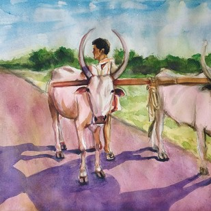 village scene by Sreenivasa Ram Makineedi, Impressionism Painting, Watercolor on Paper, Beige color