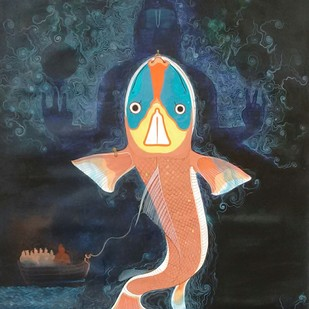 Mastyavatara I by Giridhar Gowd, Traditional Painting, Acrylic on Canvas, Gray color