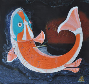 Mastyavatara II by Giridhar Gowd, Traditional Painting, Acrylic on Canvas, Brown color