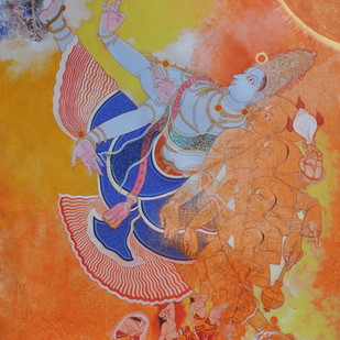 Vamanavatara by Giridhar Gowd, Traditional Painting, Acrylic on Canvas, Brown color