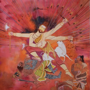 Parasuramavatara by Giridhar Gowd, Traditional Painting, Acrylic on Canvas, Brown color