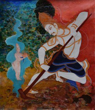 Bala Ramavatara by Giridhar Gowd, Traditional Painting, Acrylic on Canvas, Brown color