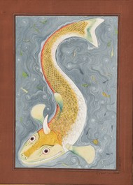 Mastyavatara (Miniature Series) by Giridhar Gowd, Painting, Earth pigments and gold on handmade paper, Brown color