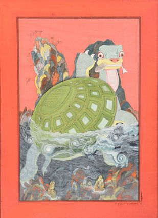 Koormavatara (Miniature Series) by Giridhar Gowd, Traditional Painting, Earth pigments on handmade paper, Red color