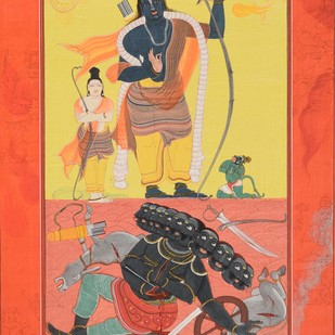 Ramavataram (Miniature Series) by Giridhar Gowd, Traditional Painting, Earth pigments and gold on handmade paper, Red color