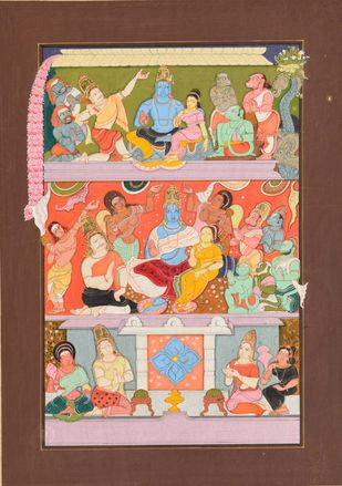 Rama Pattabhishekam (Miniature Series) by Giridhar Gowd, Traditional Painting, Earth pigments and gold on handmade paper, Brown color