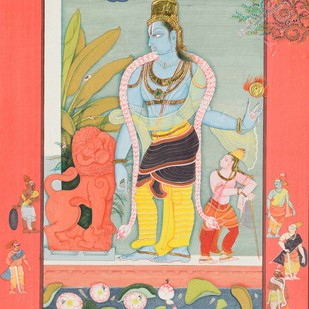 Sri Krishna (Miniature Series) by Giridhar Gowd, Traditional Painting, Earth pigments and gold on handmade paper, Beige color