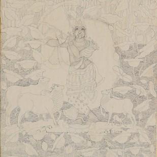 Sri Krishnavatara(Miniature Series) by Giridhar Gowd, Traditional Painting, Gesso on paper, Beige color