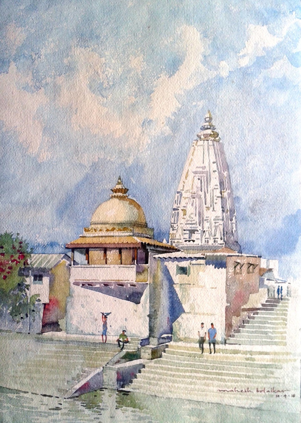 Temple by Mahesh Bolaikar, Impressionism Painting, Watercolor on Paper, Gray color