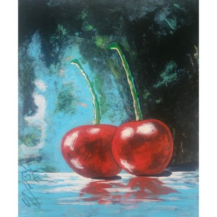 sweetness-2 by yashpal gambhir, Expressionism Painting, Acrylic on Paper, Cyan color