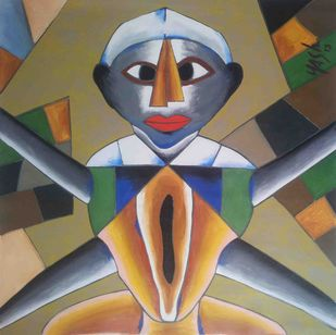 Leadership by yashpal gambhir, Expressionism Painting, Acrylic on Canvas, Brown color