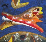 Flying by yashpal gambhir, Expressionism Painting, Acrylic on Canvas, Brown color
