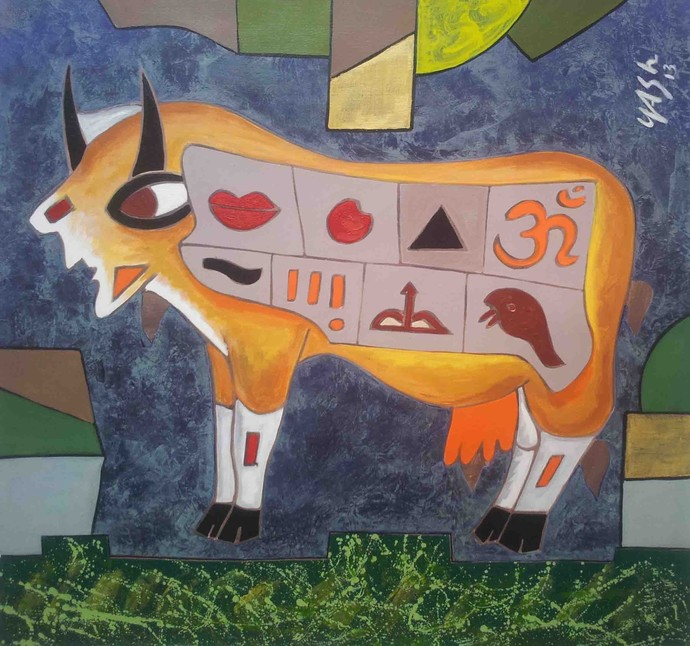 Division of Lady Life- 2 by yashpal gambhir, Expressionism Painting, Acrylic on Canvas, Brown color