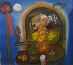 Power of Meditation by yashpal gambhir, Abstract Painting, Acrylic on Canvas, Brown color