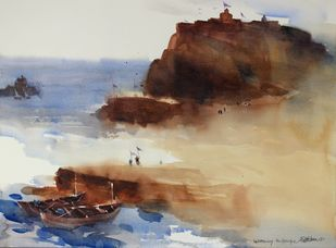 Welcoming in new lands by Prashant Prabhu, Impressionism Painting, Watercolor on Paper, Brown color