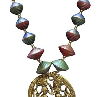 Necklace of Tribal Dhokra Art Brass Pendant by eGenie Art, Necklace
