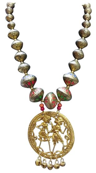 Necklace of Tribal Dhokra Art Brass Pendant by eGenie Art, Antique Necklace