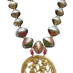 Necklace of Tribal Dhokra Art Brass Pendant by eGenie Art, Antique Necklace