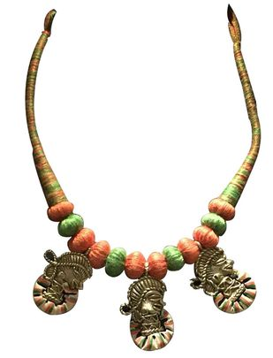 Necklace of 3 Dhokra Art Brass fig. Necklace By eGenie Art