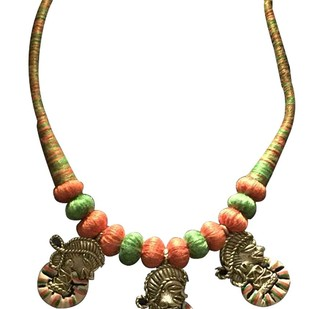 Necklace of 3 Dhokra Art Brass fig. by eGenie Art, Antique Necklace
