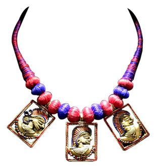 Necklace of Tribal Dhokra Art with 3 Brass fig. by eGenie Art, Antique Necklace