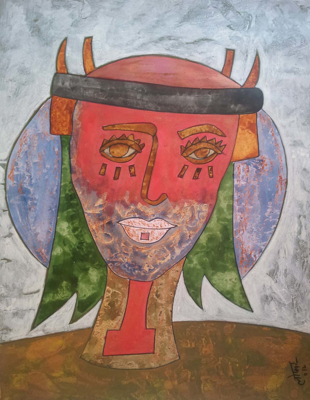 Colossus by yashpal gambhir, Expressionism Painting, Mixed Media on Paper, Brown color